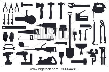 Tools Silhouette. Working Construction And Repair Tools, Ax, Shovel And Drill Black Silhouettes Isol