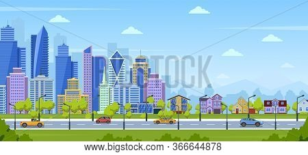 Modern City Panorama. Urban Town Cityscape And Nature Landscape With Suburban Houses. Big City Panor