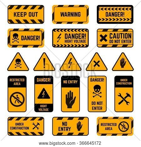 Caution Signs. Danger Warning Yellow And Black Tape, Poison Biohazard Striped, High Voltage Security
