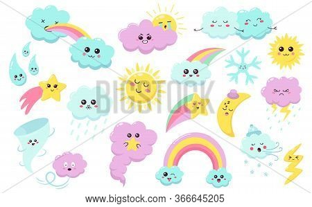 Hand Drawn Weather Phenomena. Cute Sun, Clouds Rainbow, Weather Characters, Baby Star, Snowflake And