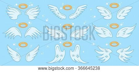 Angel Wings. Cartoon Angels Wing And Nimbus, Winged Angel Holy Sign, Heaven Elegant Angel Wings Vect