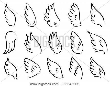 Doodle Wings. Hand Drawn Angel Flight Feather, Elegant Angel Wings, Heaven Angels Wings Sketch Vecto