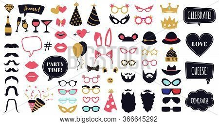 Photobooth Party Props. Funny Face Masks, Glasses, Crown, Beard And Bunny Ears, Celebration Day Spee