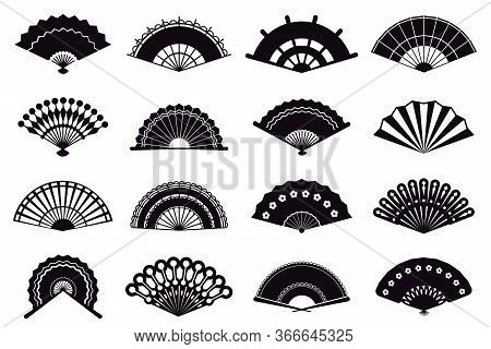 Hand Fans Silhouette. Asian Traditional Paper Folding Hand Fans, Graphic Monochrome Oriental Paper F