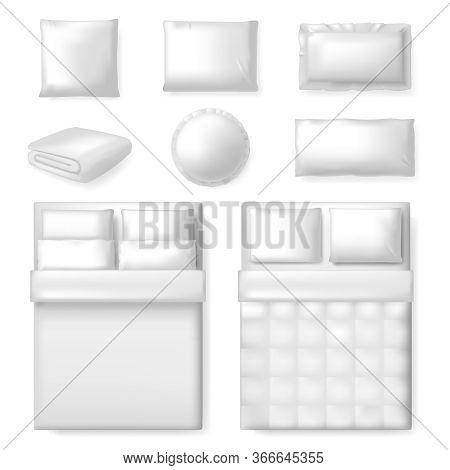 Realistic Bedding Template. White Blank Bed, Blanket And Pillows, Comfort Textile Bedding Template,