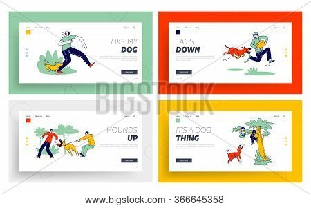 Dog Attack Landing Page Template Set. Aggressive Animals Biting And Barking On Characters. Delivery