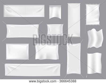 Fabric Realistic Flag Mockups. White Textile Banners And 3d Canvas Signboard, Empty Blank Flags Temp