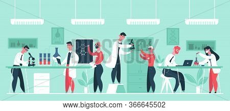 Science Research Laboratory. Chemical Scientist Researchers In Lab Coats, Lab Worker Clinic Experime
