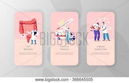 Appendix Treatment Mobile App Page Onboard Screen Template. Tiny Doctor Characters At Human Intestin