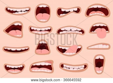 Cartoon Mouth. Hand Drawn Funny Comic Mouth With Tongues, Laughing Emotions Caricature Lips, Facial