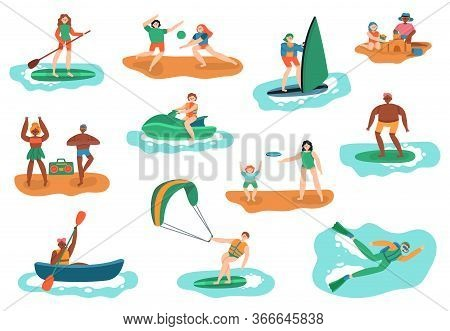 Sea Outdoor Activities. Water And Beach Sports, Ocean Diving, Surfing And Playing Ball, People Vacat