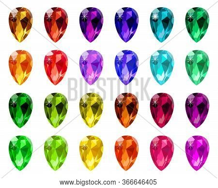 Jewel Diamond Crystals. Gemstone Diamond Gem, Game Jewelry Luxury Stone, Precious Rhinestones Isolat