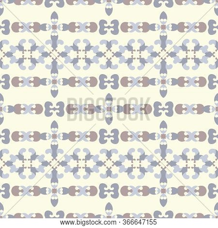 Seamless Pattern Retro, Vintage. Pale Yellow, Chocolate Color And Blue. Pastel Colors. Vector.