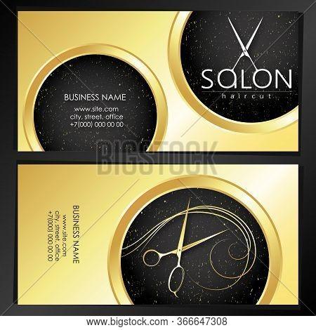 Business Card Golden Beauty Stylist And Hairdresser