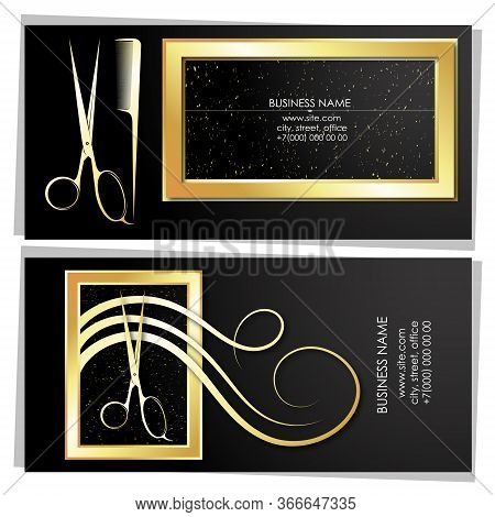Hair Stylist And Hairdresser Business Card Golden Concept
