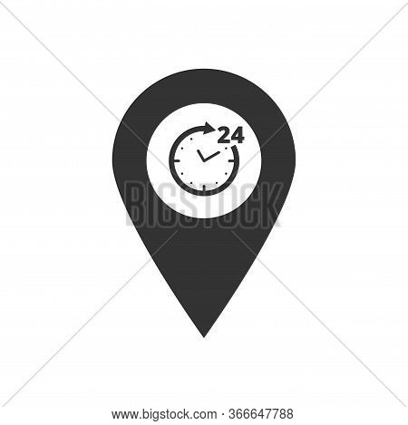 24h Working Time Map Pointer Black Icon. Simple Pin With Clock, Circle Arrow Isolated On White. Roun