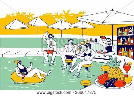 Young Characters In Swimming Pool With Parasols And Bar Have Fun Drinking Cocktails And Eating Ice C