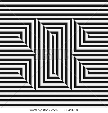Abstract Monochrome Seamless Pattern. Optical Illusion. Black And White Stripes Letter X. Vector Ill