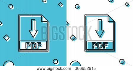 Black Pdf File Document Icon Isolated On Blue And White Background. Download Pdf Button Sign. Random