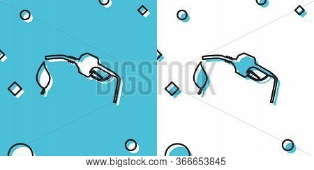 Black Bio Fuel Concept With Fueling Nozzle And Leaf Icon Isolated On Blue And White Background. Natu