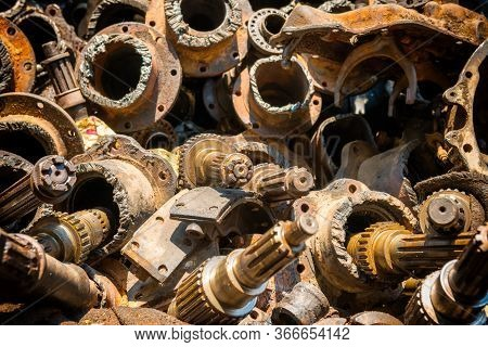 Pile Of Old Rusty Metal Scrap, Used Machine Spares And Car Parts Can Be Used As Mechanic Industrial