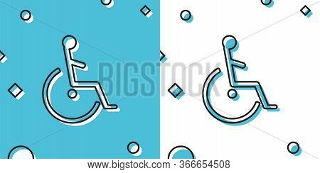 Black Disabled Handicap Icon Isolated On Blue And White Background. Wheelchair Handicap Sign. Random