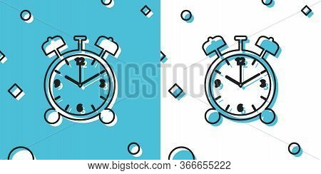 Black Alarm Clock Icon Isolated On Blue And White Background. Wake Up, Get Up Concept. Time Sign. Ra