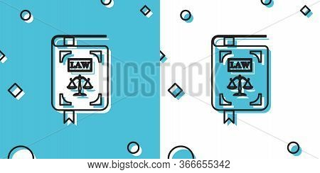 Black Law Book Statute Book With Scales Of Justice Icon Isolated On Blue And White Background. Rando
