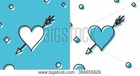 Black Amour Symbol With Heart And Arrow Icon Isolated On Blue And White Background. Love Sign. Valen