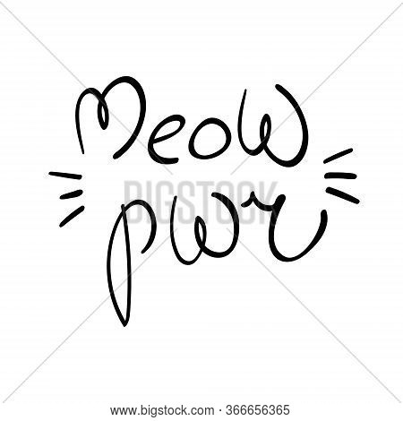 Meow Power Lettering With Whiskers On White Background. Kitten Sound Type. Vector Illustration.
