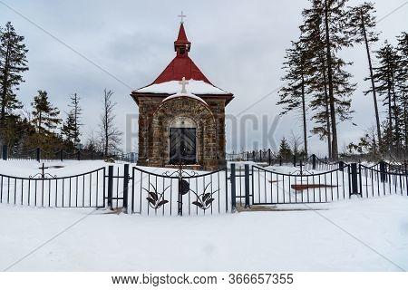 Chapel On Murinkovy Vrch Hill Above Horni Lomna Village In Winter Moravskoslezske Beskydy Mountains