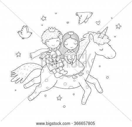 Prince And Princess Are Flying On A Unicorn. Cute Cartoon Kids And Fairy Pony.
