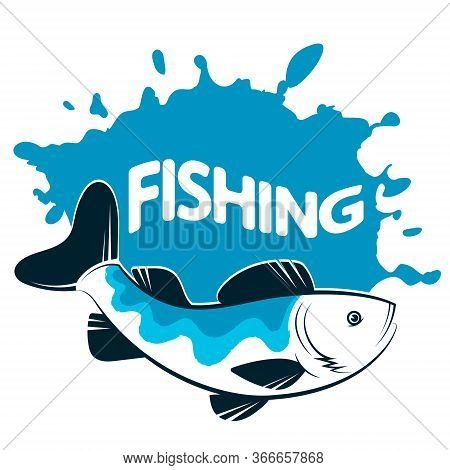 Fish And Blue Water Drops Symbol For Sport Fishing