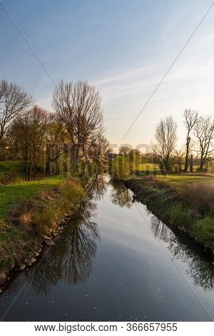 Odra River With Meadow And Trees Around Near Ostrava City In Czech Republic During Beautiful Springt