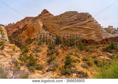 Mountain viewpoint Landscape in Zion national park in Zion Utah United States. USA American National Park Landscape travel destinations and tourism concept.