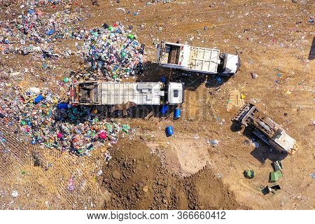 Top Down Aerial Footage Of A Municipal Solid Waste Landfill.