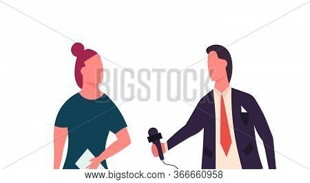 News Reporter Television Illustration Man With Woman. Broadcasting Communication Journalist Report M