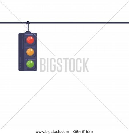 Traffic Light Banner With White Background. Traffic Light On Wire. Safety Stoplight On Road. Modern