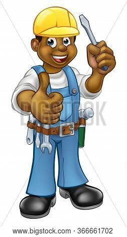 An Electrician Handyman Cartoon Character Holding A Screwdriver And And Giving A Thumbs Up