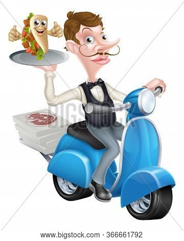 An Illustration Of A Waiter On Scooter Moped Delivering Wrap Kebab