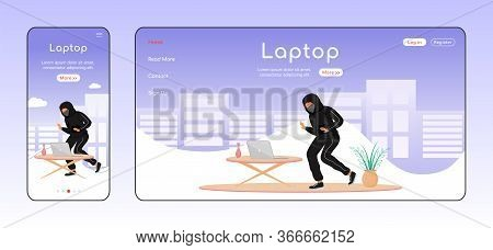 Laptop Theft Adaptive Landing Page Flat Color Vector Template. House Break-in Mobile And Pc Homepage