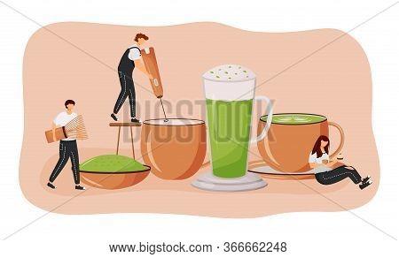 Matcha Latte Flat Concept Vector Illustration. Green Tea Powder. Man Making Hot Drink. Japanese Nutr