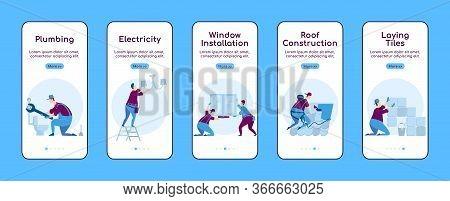 Home Repair Onboarding Mobile App Screen Flat Vector Template. Window Installation. Walkthrough Webs
