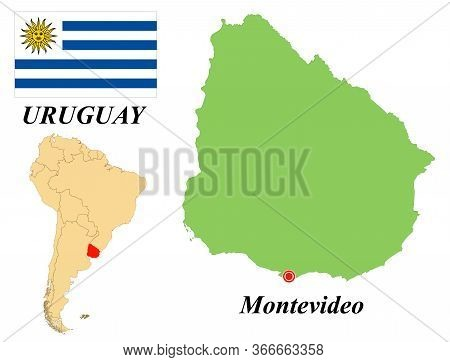 Eastern Republic Of Uruguay. Capital Of Montevideo. Flag Of Uruguay. Map Of The Continent Of South A