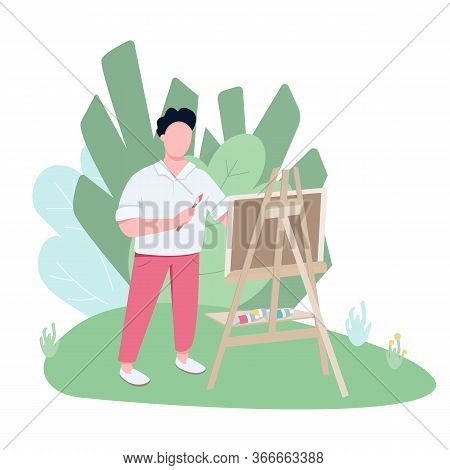 Plein Air Artist Working In Park Flat Color Vector Faceless Character. Inspired Painter Drawing Pict