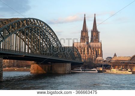 Cologne, Germany - March 19, 2020: Panoramic Image Of The City Skyline With Cathedral And Bridge Ove
