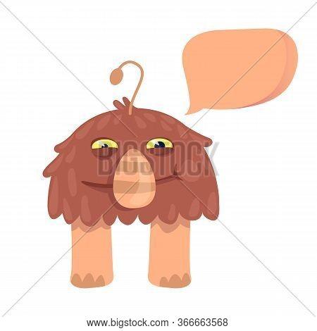Shaggy Alien Flat Cartoon Vector Illustration. Fantastic Animal. Ready To Use 2d Character Template