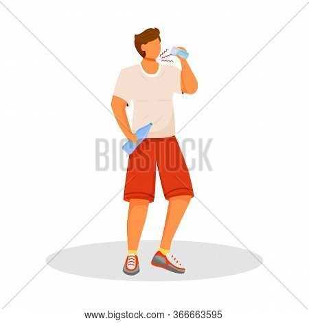 Thirsty Flat Color Vector Faceless Character. Man With Diabetes. Athlete Drinks Water. Symptom Of Di