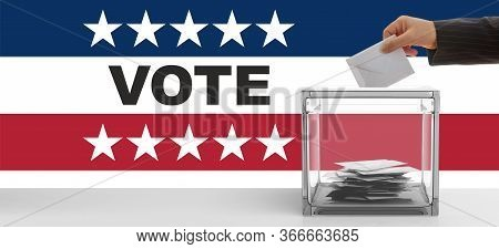 Vote On Usa Election. Hand Inserting An Envelope In A Ballot Box Slot. 3D Illustration