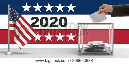 2020 Usa Election. Hand Inserting An Envelope In A Ballot Box Slot. 3D Illustration